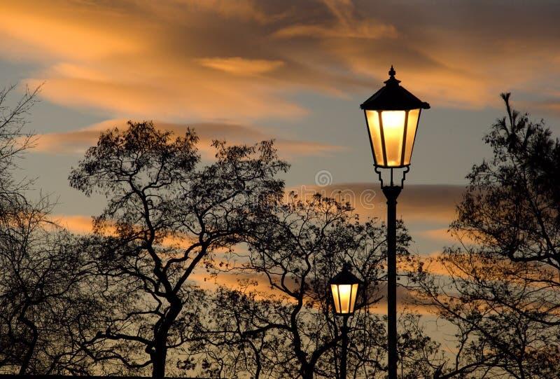 Coucher du soleil en parc de ville images libres de droits