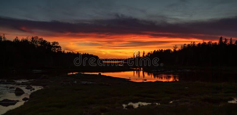 Coucher du soleil en parc national d'Acadia image stock