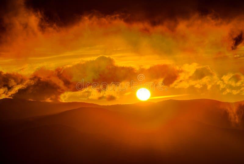 Coucher du soleil en parc national de Great Smoky Mountains photographie stock libre de droits
