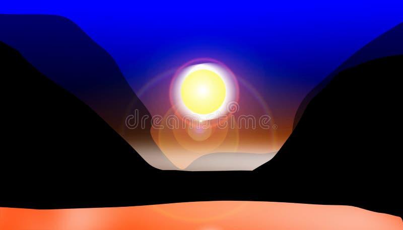Coucher du soleil en vallée illustration de vecteur