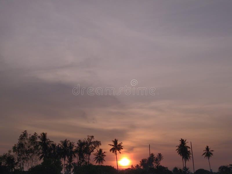Coucher du soleil en ville natale photographie stock libre de droits