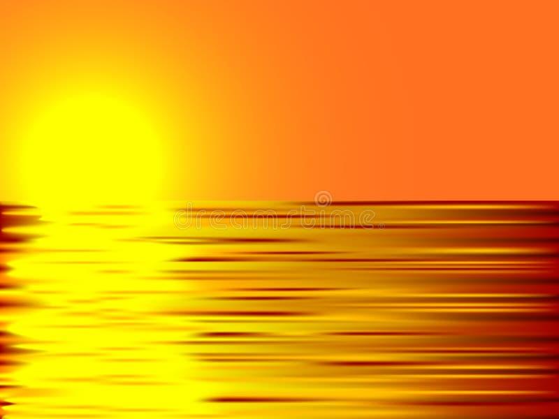 Coucher du soleil et eau. illustration de vecteur