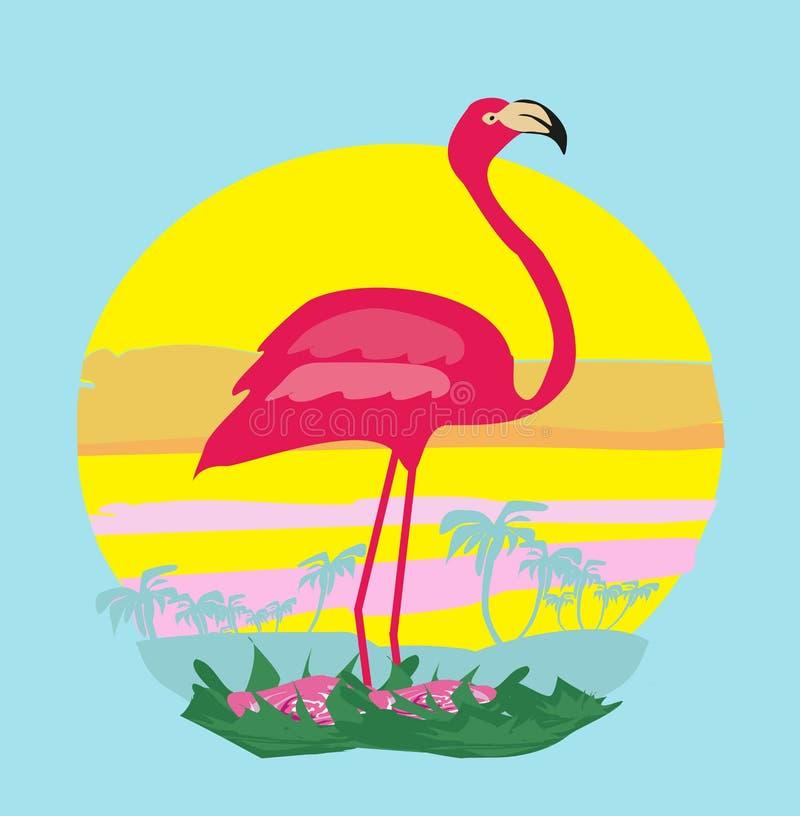Coucher du soleil et flamant rose illustration libre de droits