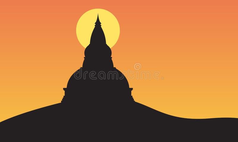 Coucher du soleil et grande pagoda sur la montagne illustration stock