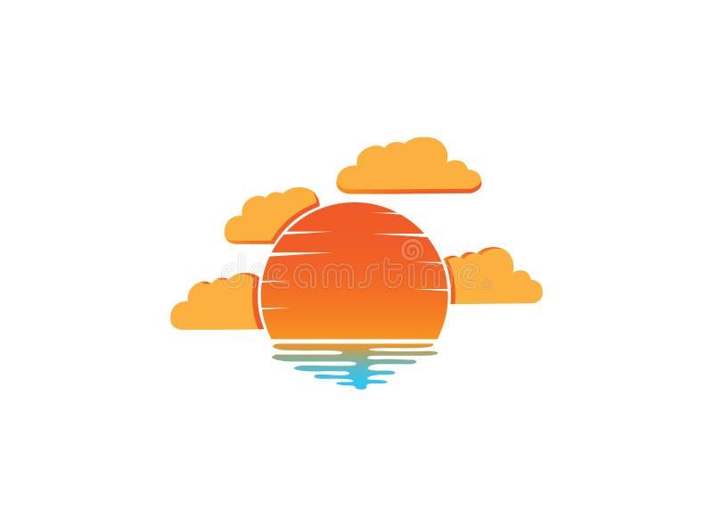 Coucher du soleil et nuages dans la plage pour l'illustration de conception de logo illustration libre de droits