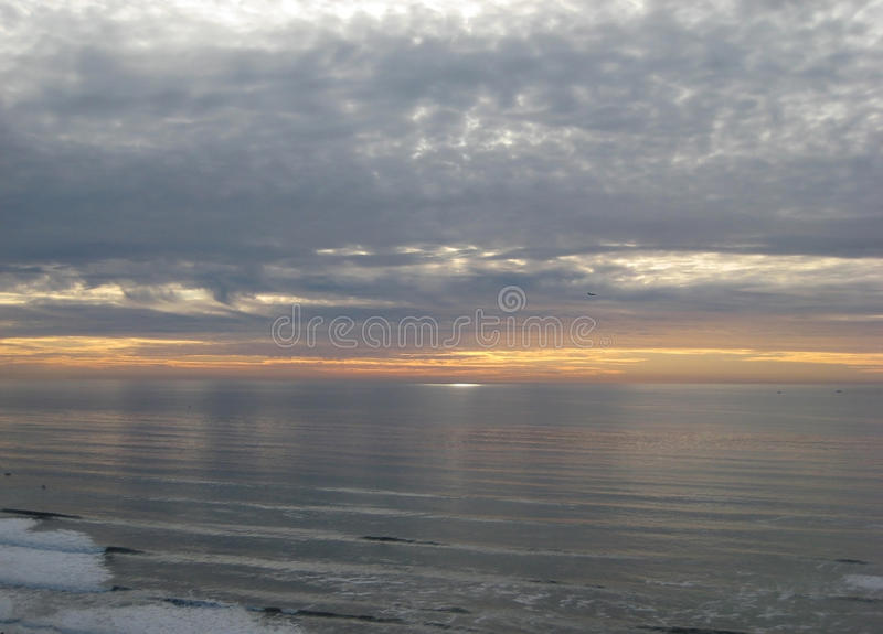 Coucher du soleil et océan, San Diego photos stock