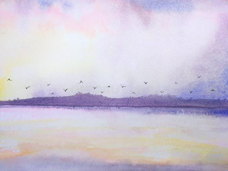 Coucher du soleil et oiseaux de rose de paysage de mer et de montagne volant dans le ciel illustration stock