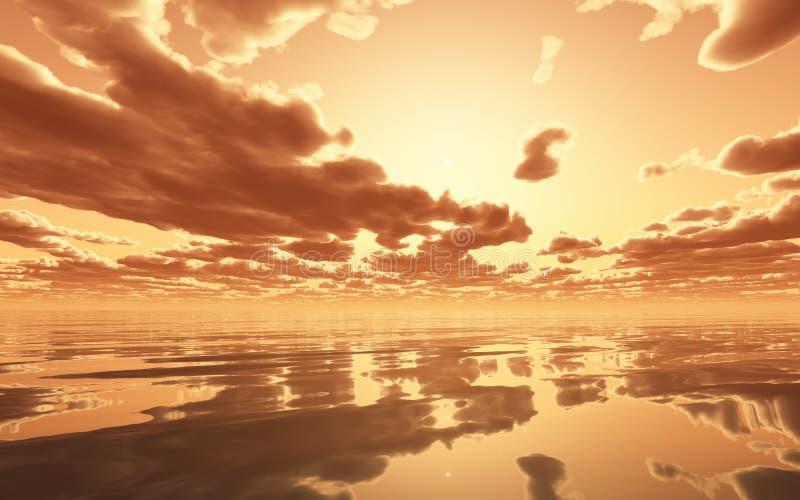 Coucher du soleil excessif au-dessus de l'océan illustration stock
