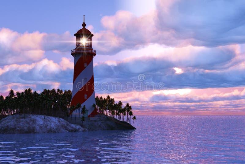 Coucher du soleil excessif avec le phare sur l'île en mer illustration stock