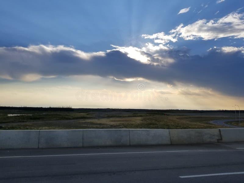 Coucher du soleil, fort McMurray, Alberta photos libres de droits