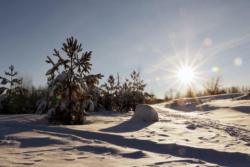 Coucher du soleil gentil dans un jour froid image stock
