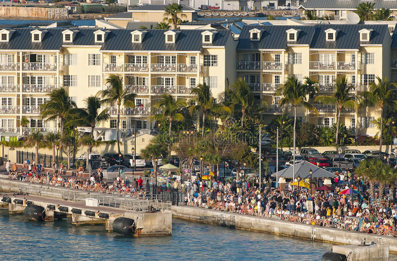 Coucher du soleil, grand dos de Mallory, Key West la Floride image stock