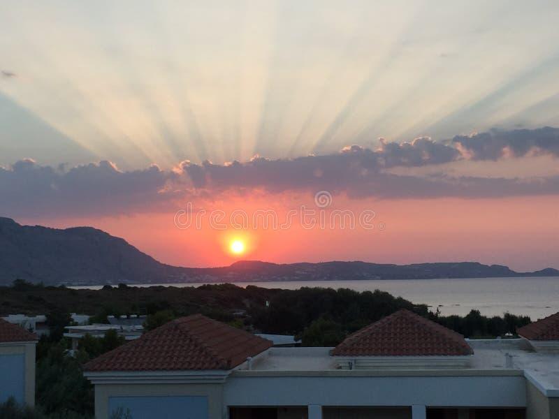 Coucher du soleil grec photographie stock libre de droits