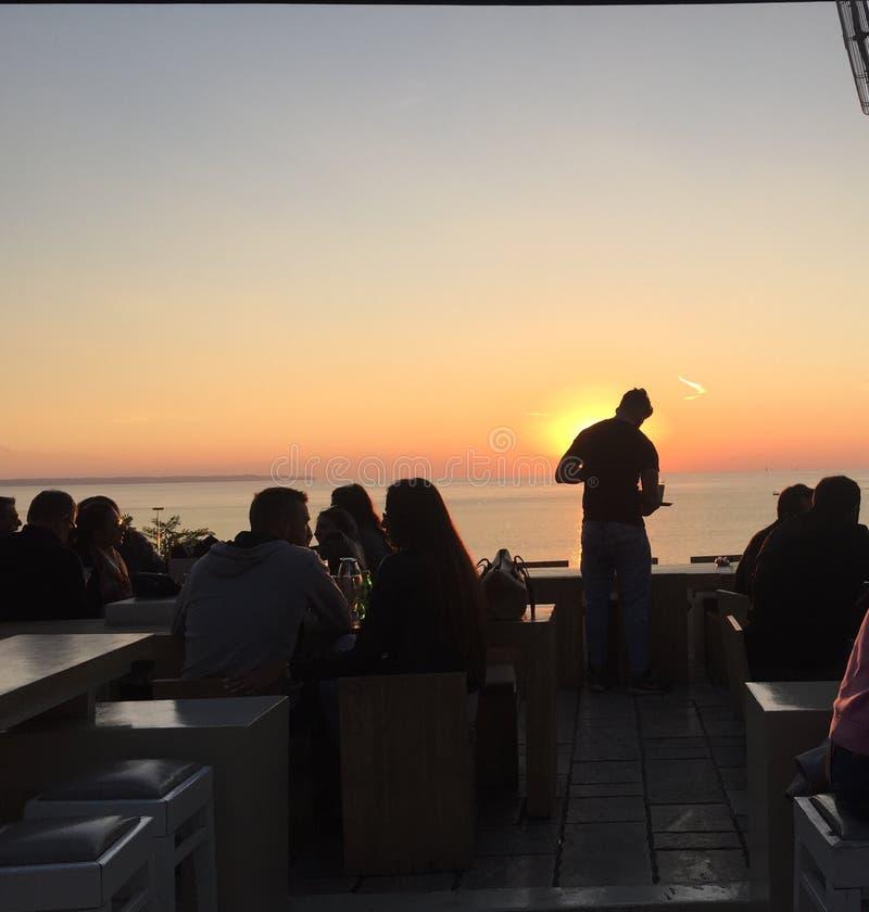 Coucher du soleil grec photo stock