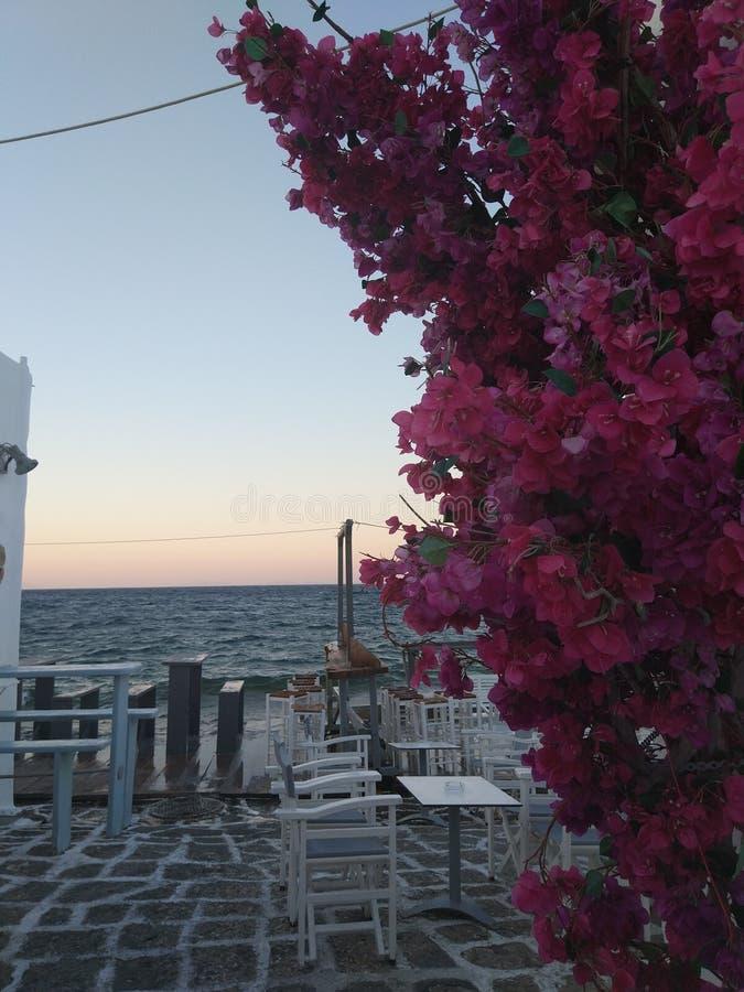 Coucher du soleil grec dans Paros images libres de droits
