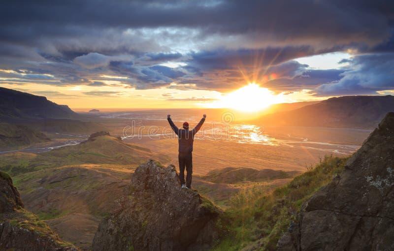 Coucher du soleil islandais images libres de droits