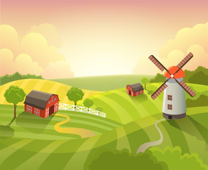 Coucher du soleil isométrique de paysage de ferme de campagne cultivant l'appartement de vecteur illustration stock