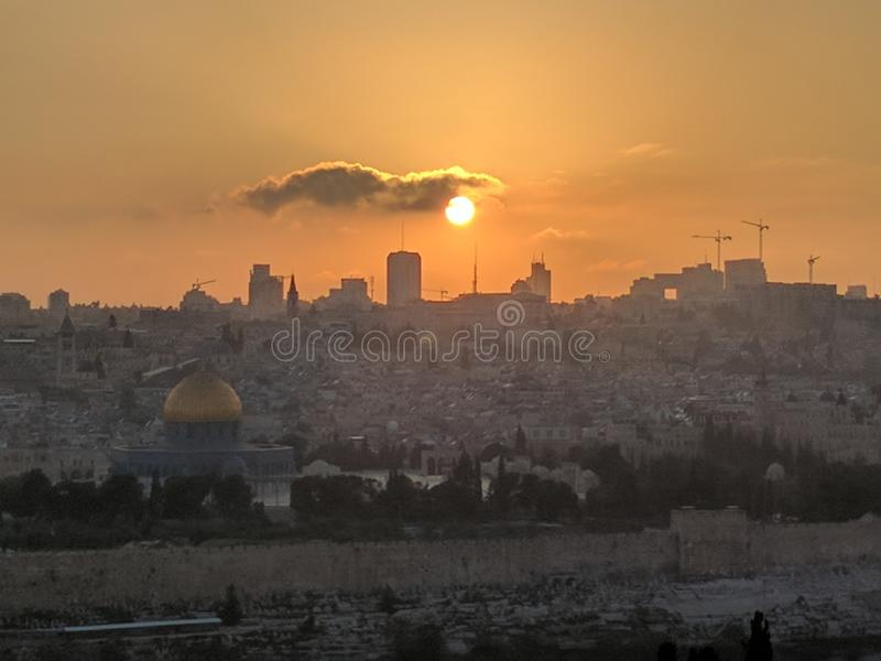 Coucher du soleil Jérusalem du mont des Oliviers image libre de droits