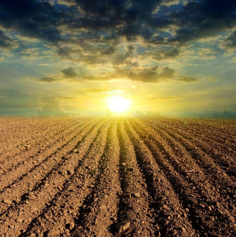 Coucher du soleil labouré de zone photos stock
