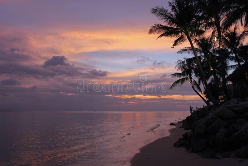 Coucher du soleil lilas images libres de droits
