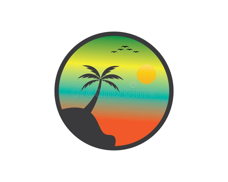 Coucher du soleil Logo Template illustration stock