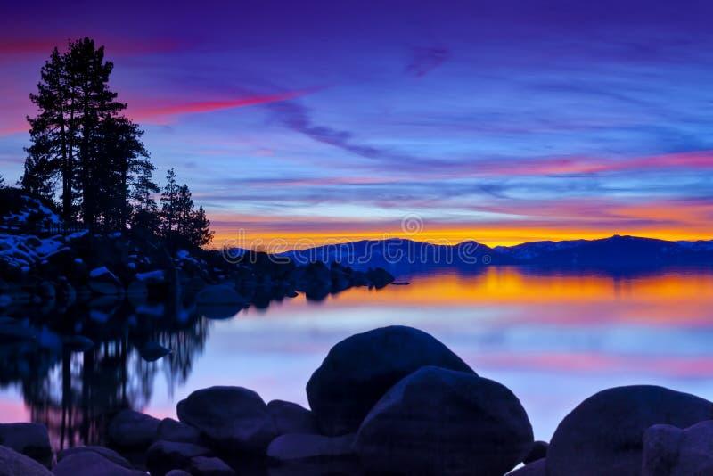Coucher du soleil magique de Tahoe photographie stock