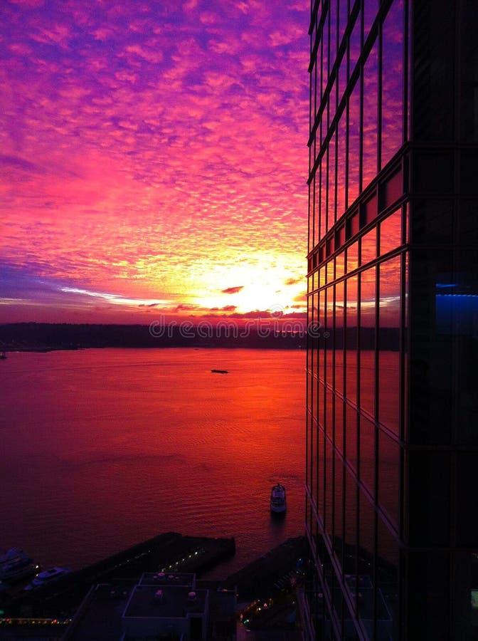 Coucher du soleil magique de Washington Skyline photos stock