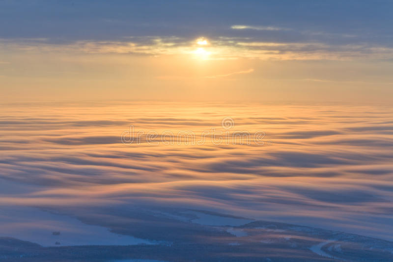 Coucher du soleil majestueux, vue supérieure images stock