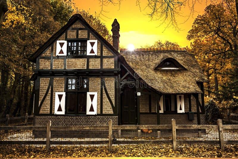 Coucher du soleil néerlandais de maison de campagne photos stock