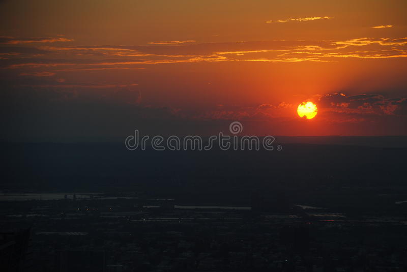 Coucher du soleil New York image stock