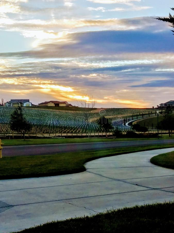 Coucher du soleil nuageux de la Californie image libre de droits