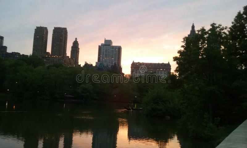 Coucher du soleil NYC de Central Park de New York images libres de droits