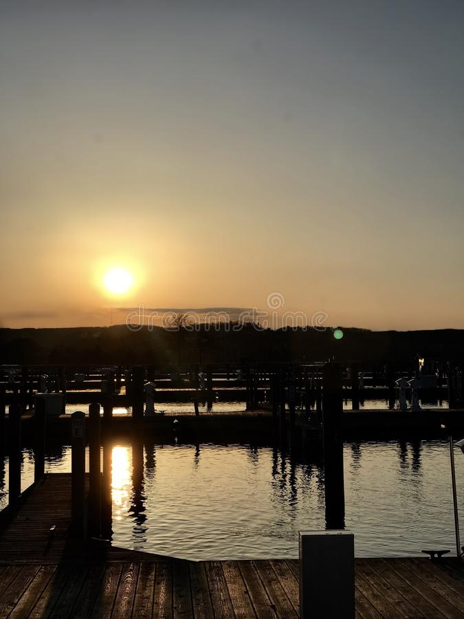 Coucher du soleil occidental de baie photo libre de droits