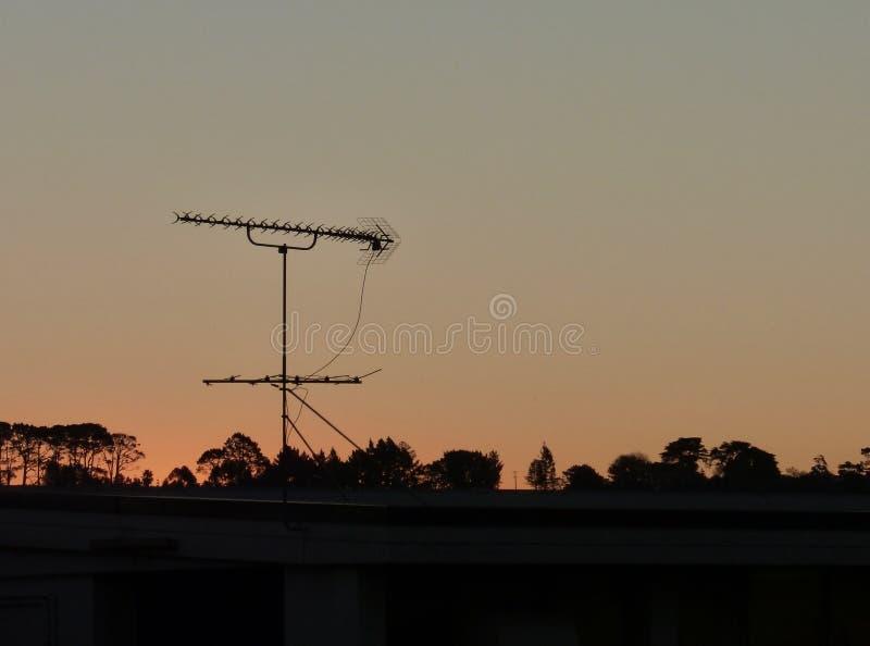 Coucher du soleil orange de ciel avec des arbres et des pylônes en silhouette image libre de droits