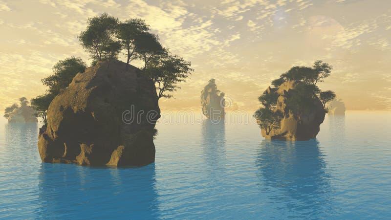 Coucher du soleil ou lever de soleil avec des îles illustration de vecteur