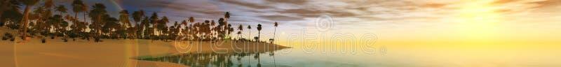 Coucher du soleil panoramique de mer de paysage photographie stock libre de droits