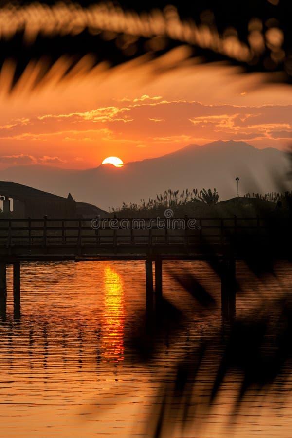 Coucher du soleil par les feuilles, le pont et les montagnes de palmier image stock
