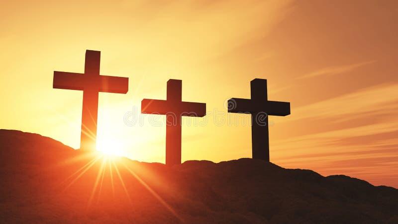Coucher du soleil au-dessus des croix religieuses images libres de droits