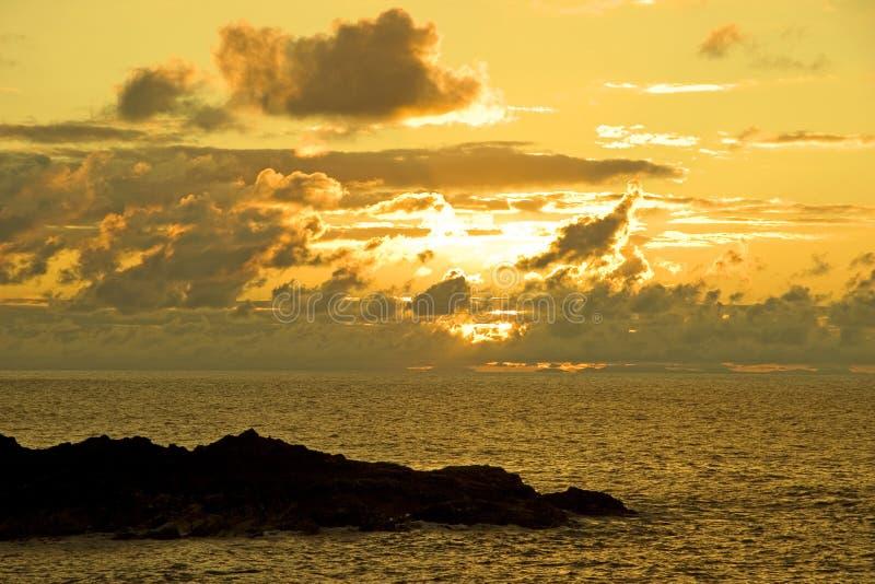 Coucher du soleil, Portsoy, Ecosse photo stock
