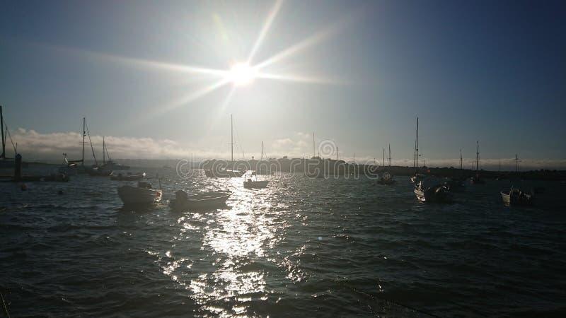 Coucher du soleil Portugal Algarve d'Alvor images stock
