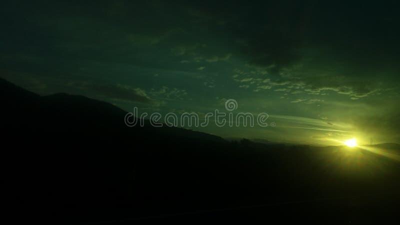 Coucher du soleil près de Zenica, Bosnie-Herzégovine image stock