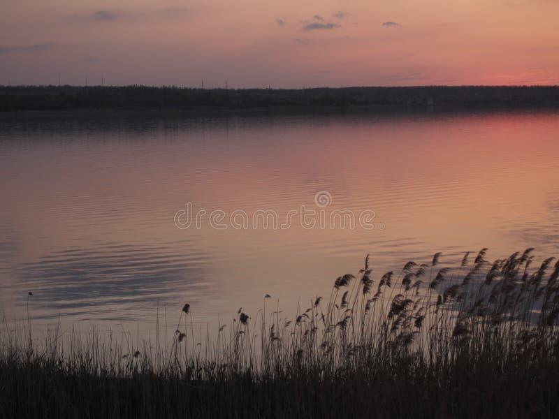 Coucher du soleil reflété dans le lac image stock