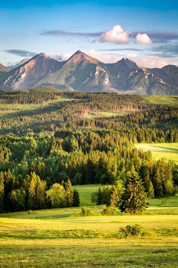 Coucher du soleil renversant aux montagnes de Belianske Tatra en été images stock