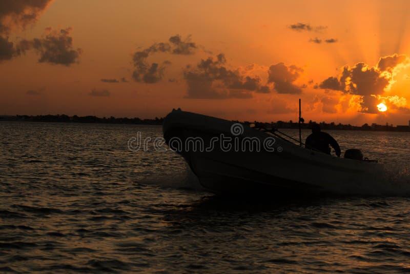 Coucher du soleil Ria Lagartos images stock