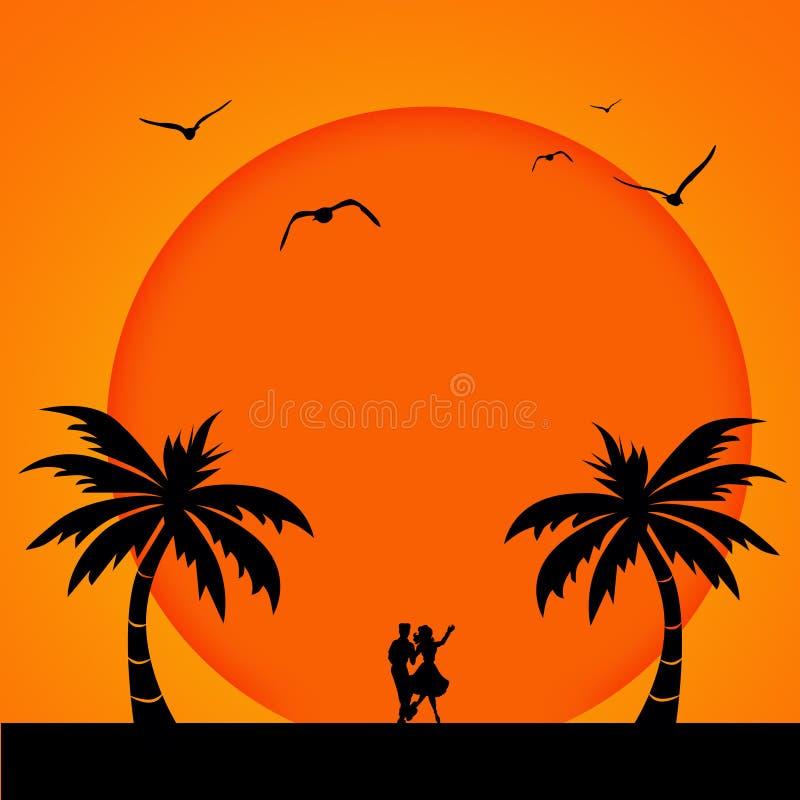 Coucher du soleil romantique illustration de vecteur