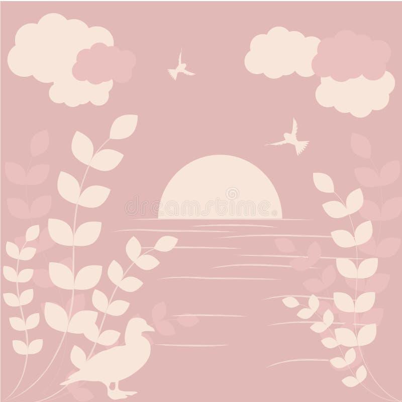 Coucher du soleil romantique illustration stock