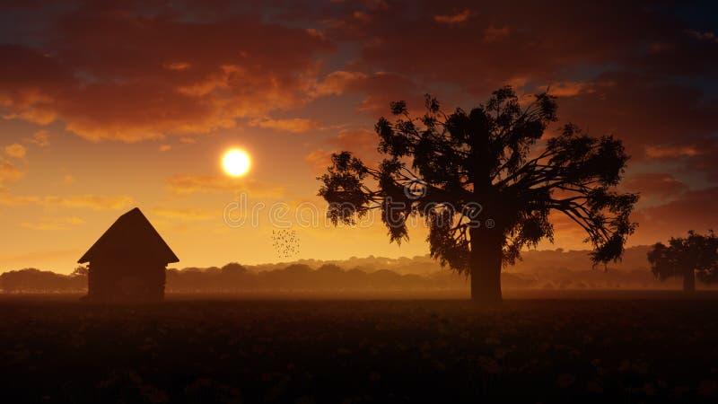 Coucher du soleil romantique de paysage illustration libre de droits