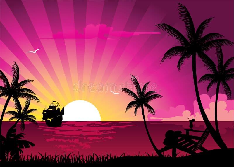 coucher du soleil rose illustration de vecteur