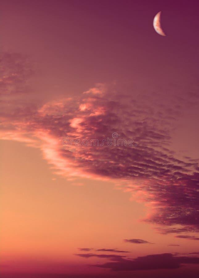 Download Coucher Du Soleil Rose De Lune Photo stock - Image du assez, lune: 73050