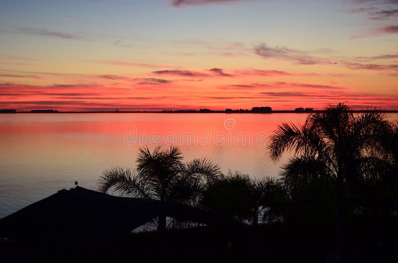 Coucher du soleil rouge à un lac de la Floride centrale image libre de droits